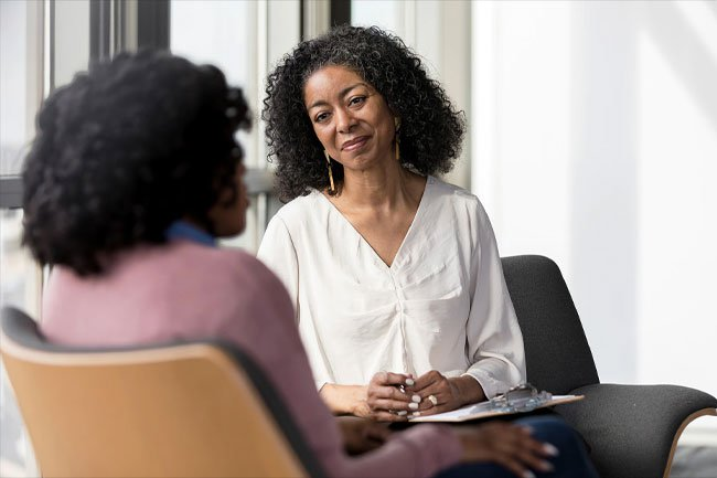 In-person therapy involves meeting a therapist in an office.
