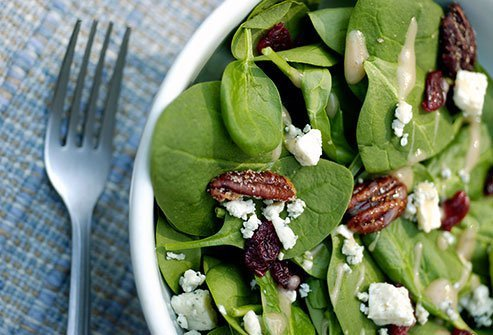 Leafy greens, whole grains, nuts, and beans are all good for keeping away the fat that stays deep in your belly.
